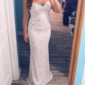 Lulus Olivia Sequin Wedding Prom Dress Large EUC